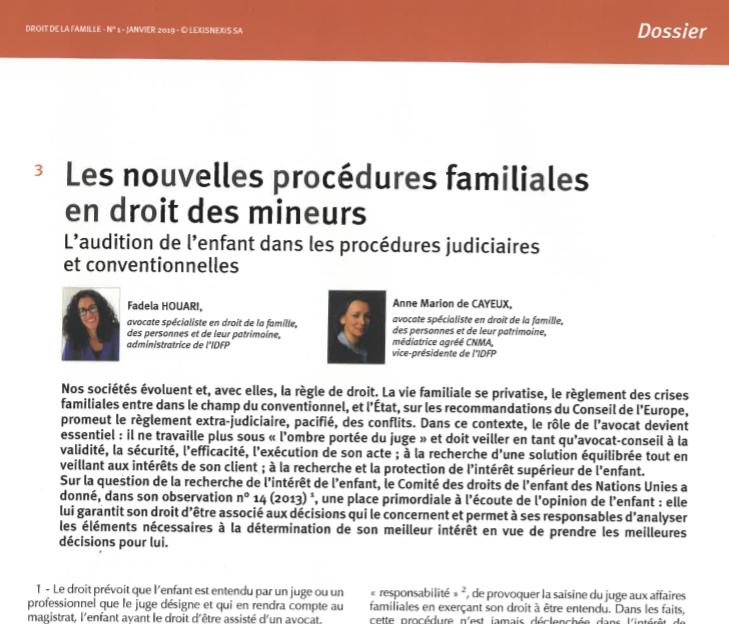 Article  - Revue droit de la famille - Lexis Nexis